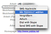 Address Book context menu of a phone number.