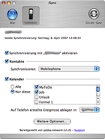 iSync main window with selected device and the preferences.